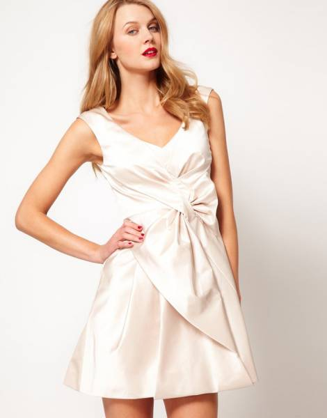 Fashion-ladies-summer-party-evening-full-skirted-cotton-sateen-dress-with-front-bow-women-one-piece