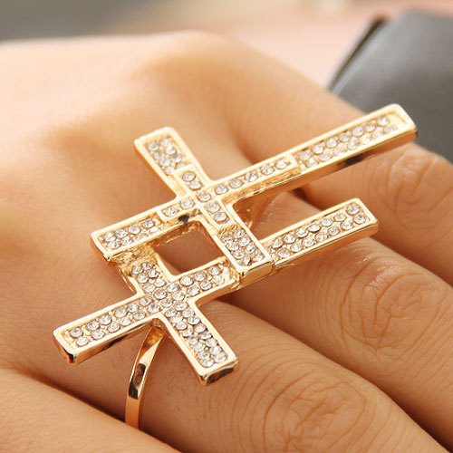 Min-order-is-10-mix-order-New-Arrival-Punk-Cool-charms-Double-Cross-Fingers-rings-new