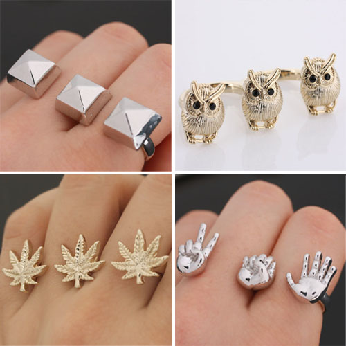 pyramid hemp owl double ring collection
