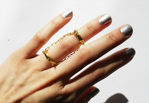 victoria jewelry.silver nails and gold double band chain ring