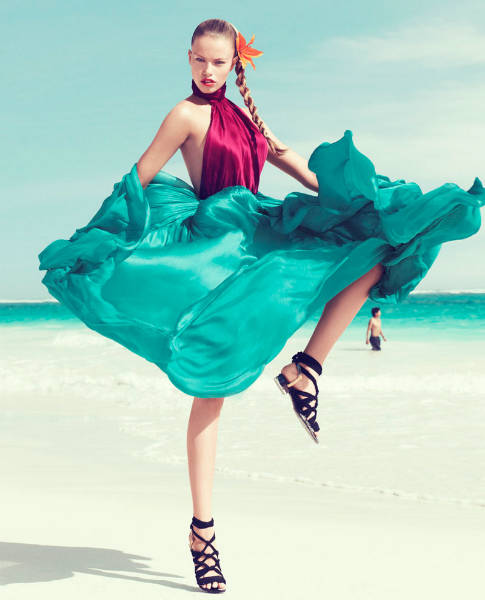 Hailey Clauson by Paola Kudacki for Harpers Bazaar US March 2012 3 spring 2012 flowy dresses