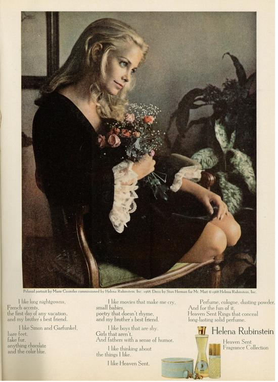 This 1968 Helena Rubinstein ad for Heaven Sent Fragrance