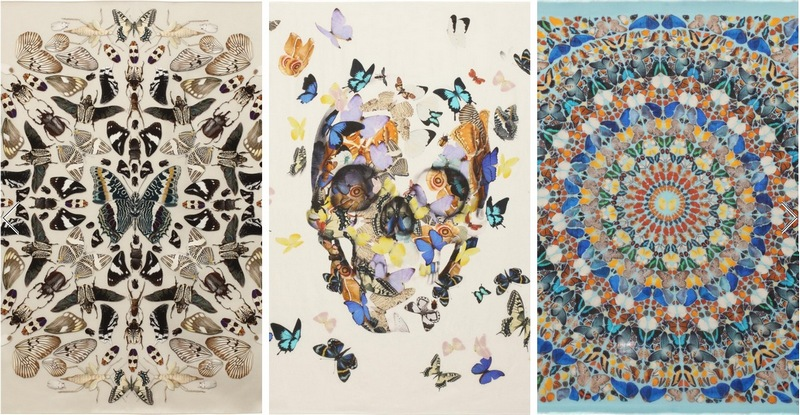 Damien-Hirst-Alexander-Mc-Queen-skull-and-butterfly-Scarves-2013