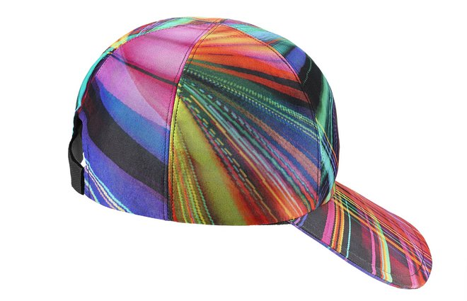 Cap in multicoloured silk with a black touch fastener A76329-Y11438-MC923 cr