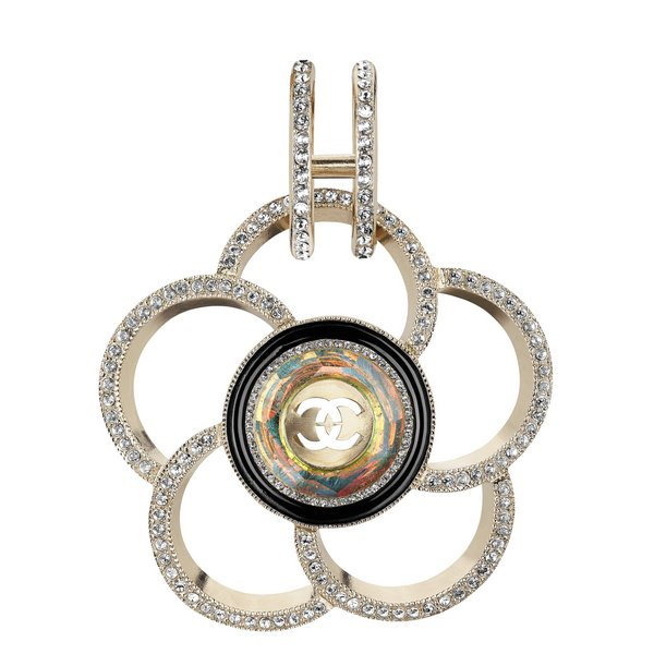 Golden metal and strass Camellia earring A97525-Y49972-Z4768