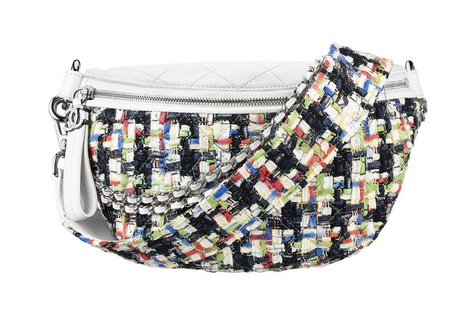 Multicoloured tweed and white leather fanny pack A93842-Y61463-K0203 cr