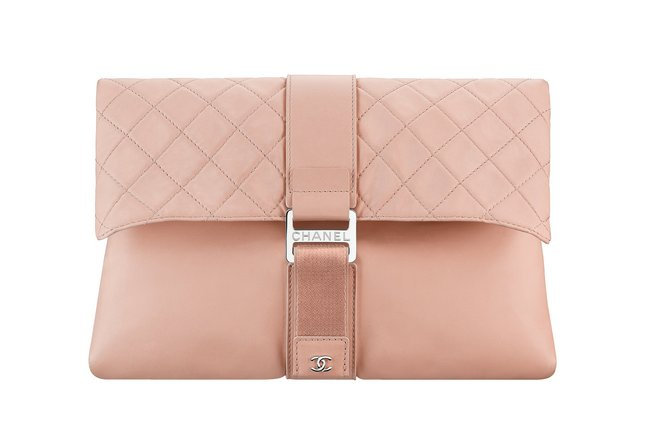 Nude leather clutch bag embellished with a touch fastener A98786-Y61423-0B337 cr