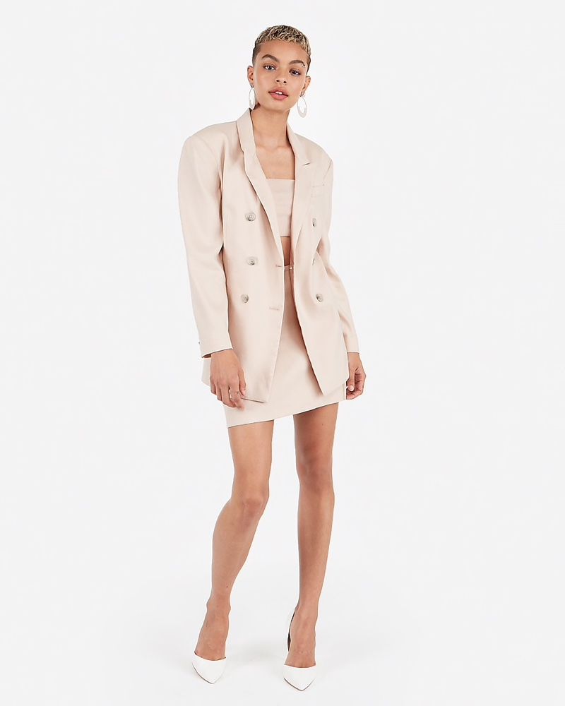 Express Karla Double Breasted Linen Blend Boyfriend Blazer Light Mink Pink