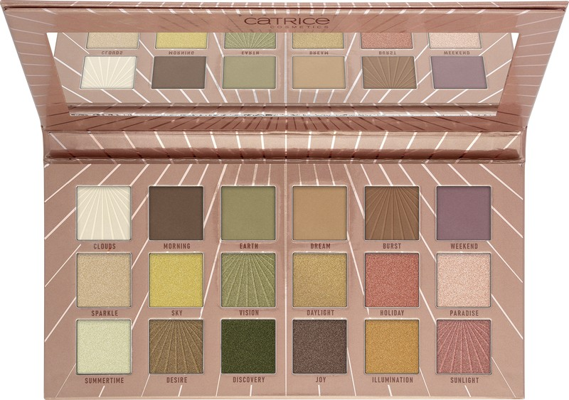 4059729281739 Catrice Sunshine Heat Me Up 18 Colour Eyeshadow Palette Image Front View Full Open png
