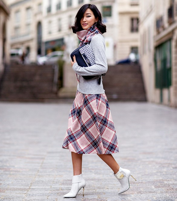 street style plaid skirt
