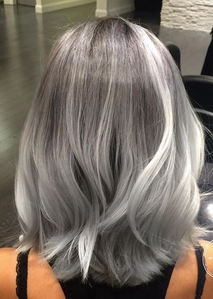 Gray hair vintage roll curls