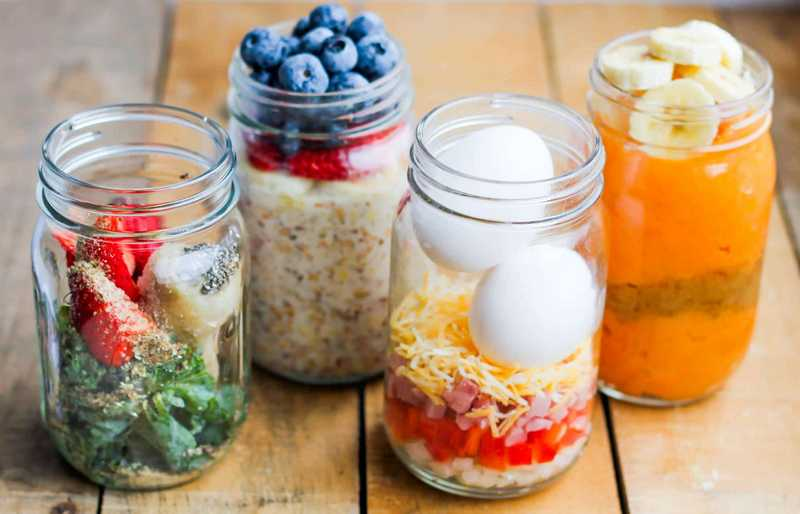 Breakfast Meal Prep Jars 4 Ways SMILE SANDWICH